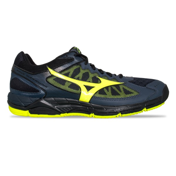 Mizuno Wave Supersonic - Mens Court Shoes - Ombre Blue/Safety Yellow/Black