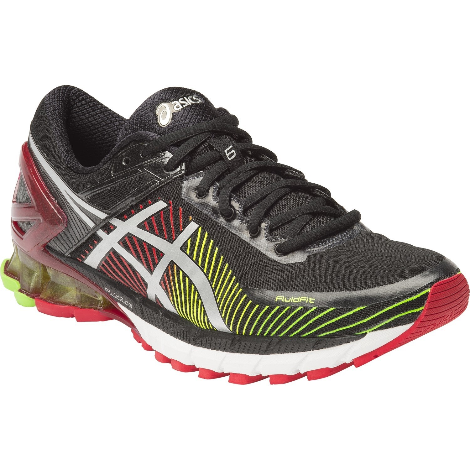 asics kinsei 6 mens running shoes black silver red online sportitude. Black Bedroom Furniture Sets. Home Design Ideas