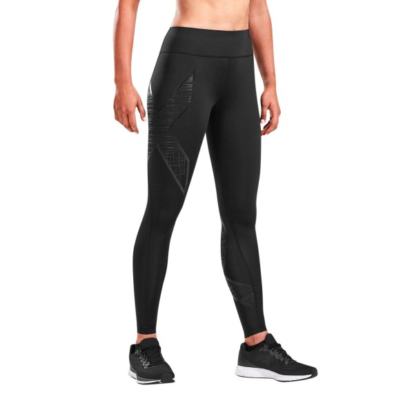 2XU Bonded Mid-Rise Womens Compression Tights - Black/Scribe Black