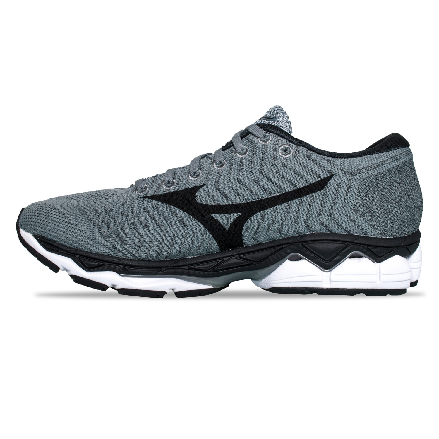 Mizuno Mens Wave Sky Waveknit 3 Running Shoes Trainers Sneakers Black Grey