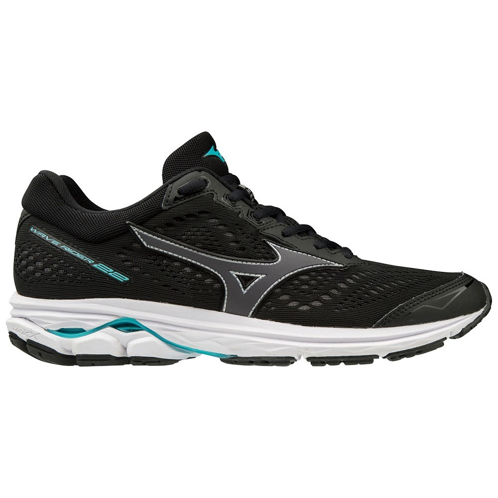 fab4e1427ee6 Mizuno Wave Rider 22 - Womens Running Shoes - Black/Blue Curacao ...