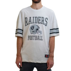 NFL Team Raiders Stripe Sleeve Oversized Mens T-Shirt