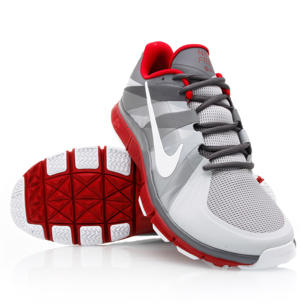 nike free trainer 5 0 mens training shoes grey white red online sportitude. Black Bedroom Furniture Sets. Home Design Ideas