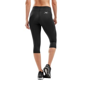2XU Womens Mid-Rise Compression 3/4 Tights - Dotted Black Logo