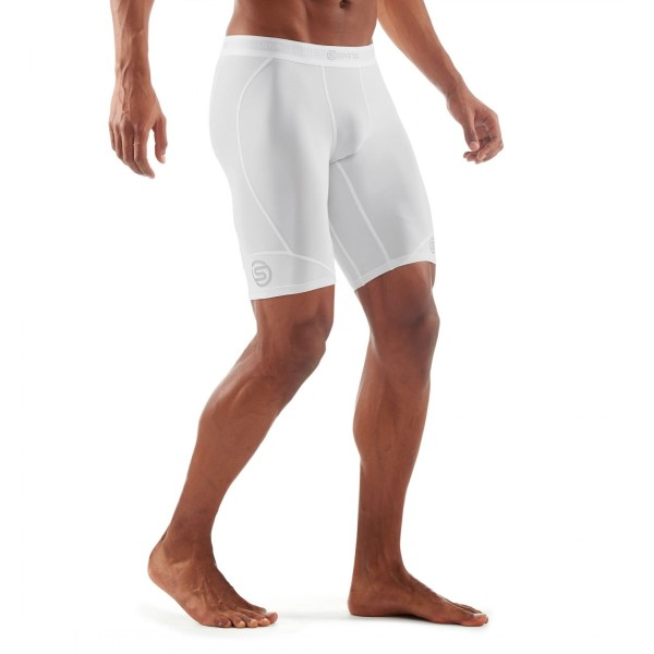 Skins DNAmic Mens Compression Half Tights - White