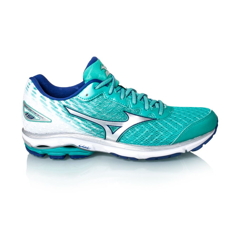 mizuno wave rider 19 womens running shoes atlantis blue white online sportitude. Black Bedroom Furniture Sets. Home Design Ideas