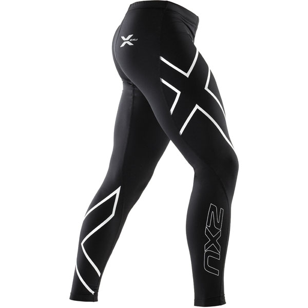 7f61d35e008c6 2XU Mens ELITE Compression Long Tights - Black/Steel | Sportitude