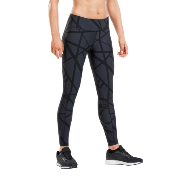 2XU Print Mid-Rise Womens Compression Tights - Paint Strokes Black/Nero
