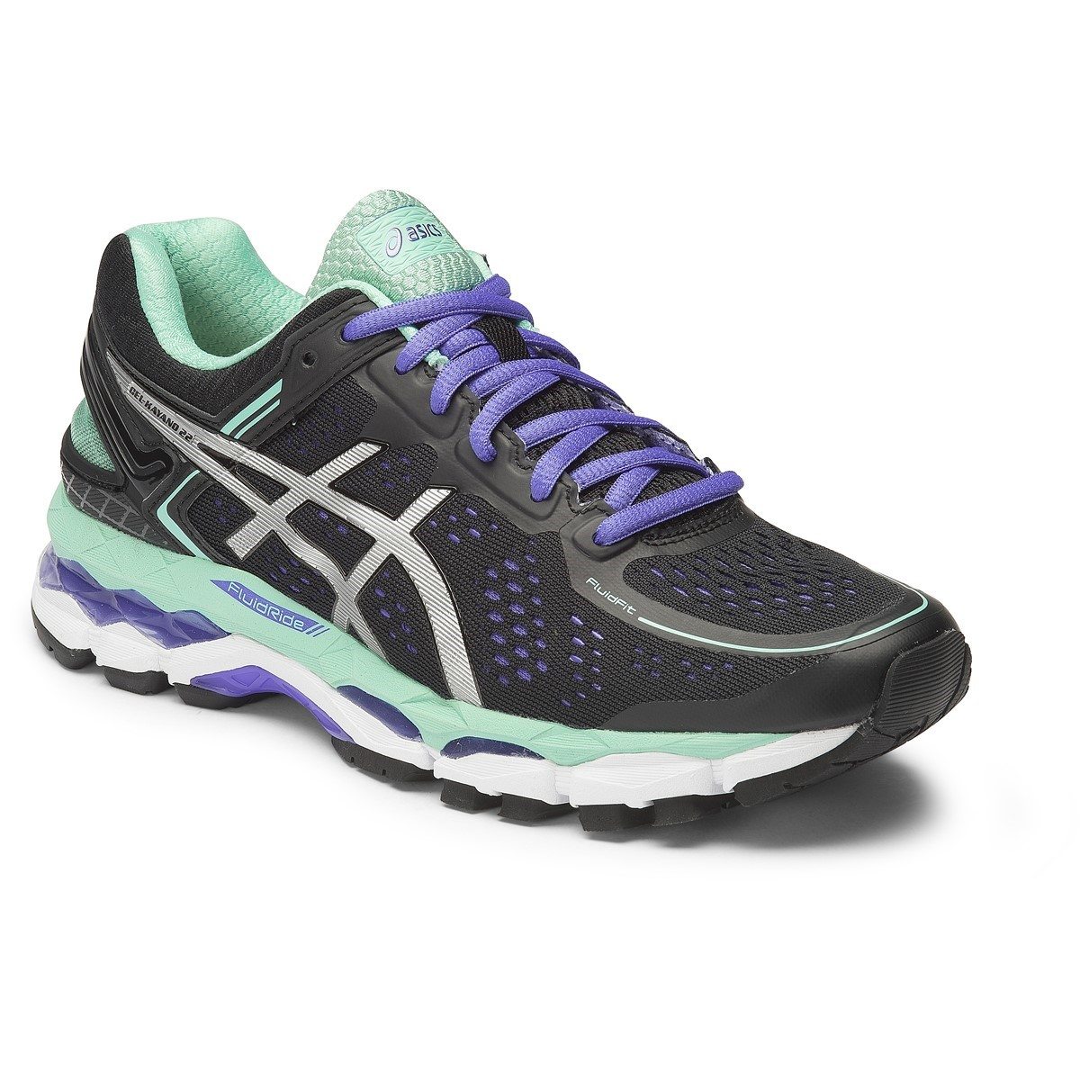 asics gel kayano 22 womens running shoes black onyx pool blue online sportitude. Black Bedroom Furniture Sets. Home Design Ideas