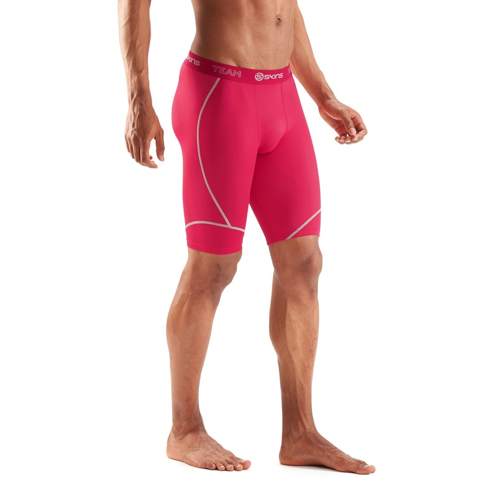 57f6a8265e Skins DNAmic Team Mens Compression Half Tights - Red | Sportitude