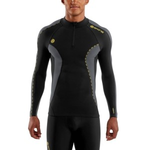 Skins DNAmic Mens Thermal Compression Long Sleeve Top with Zip Mock Neck