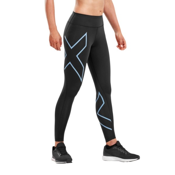 2XU Bonded Mid-Rise Womens Compression Tights - Black/Silver Lake Blue