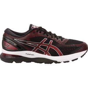 March Asics Gel Nimbus 21 - Mens Running Shoes - Black/Classic Red