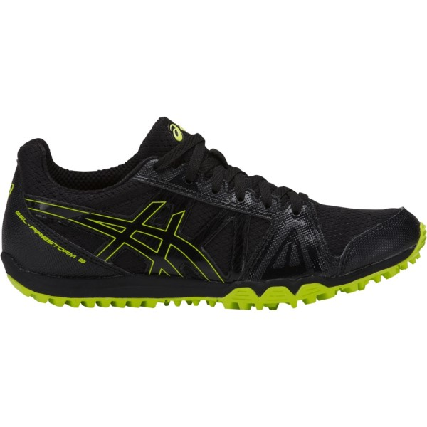 Asics Gel Firestorm 3 - Kids Boys Waffle Racing Shoes - Black/Neon Lime