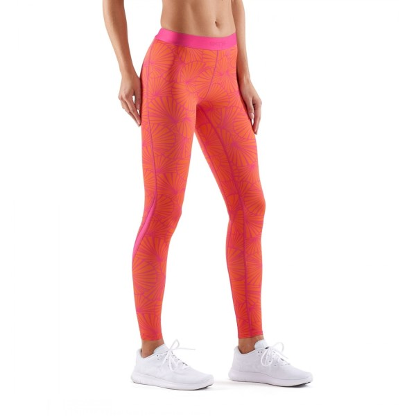 Skins DNAmic Womens Compression Long Tights - Graphic Sunfeather/Koi Orange/Pink