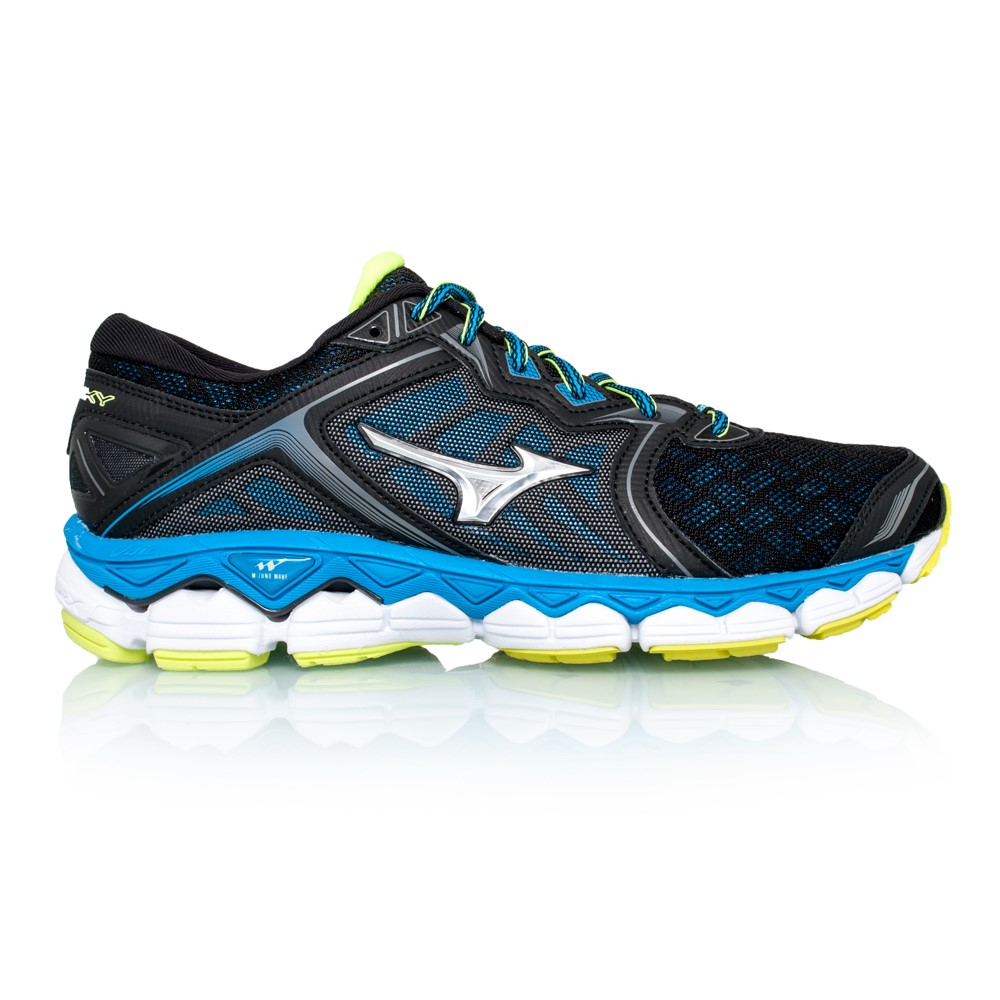 Mizuno Wave Sky - Mens Running Shoes - Black Silver Diva Blue ... a6a5c9c2d