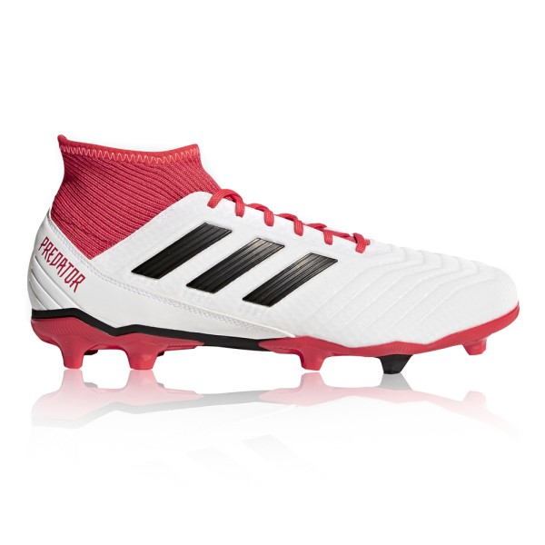 Adidas Predator 18.3 Firm Ground - Mens Football Boots - White/Core Black/Real Coral