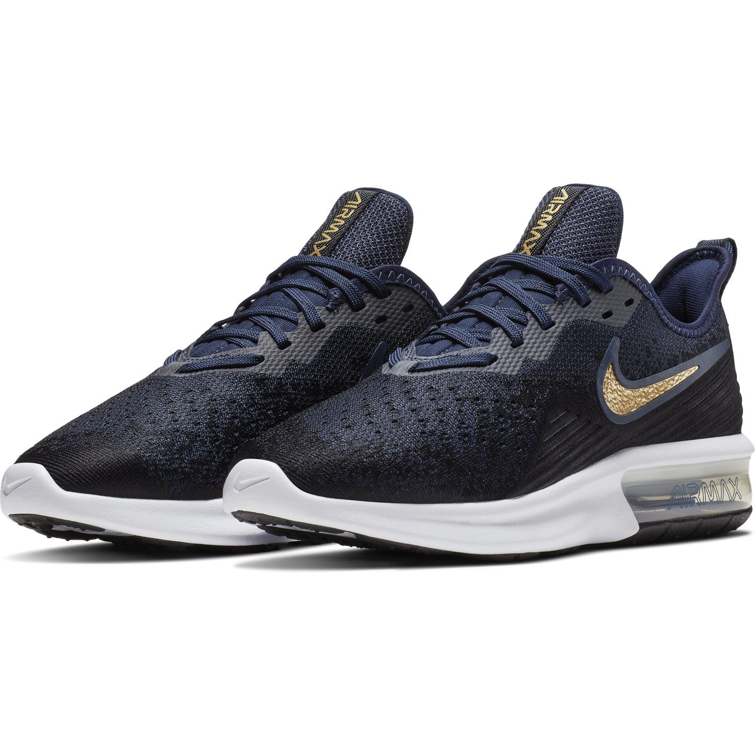 2d4f5efff76 Nike Air Max Sequent 4 - Womens Sneakers - Black Metallic Gold Obsidian