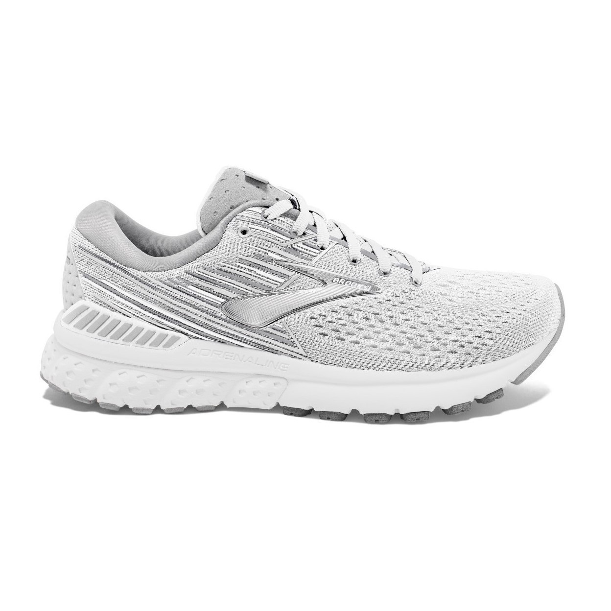 1e8455aaa77dd Brooks Adrenaline GTS 19 - Womens Running Shoes - White Grey ...