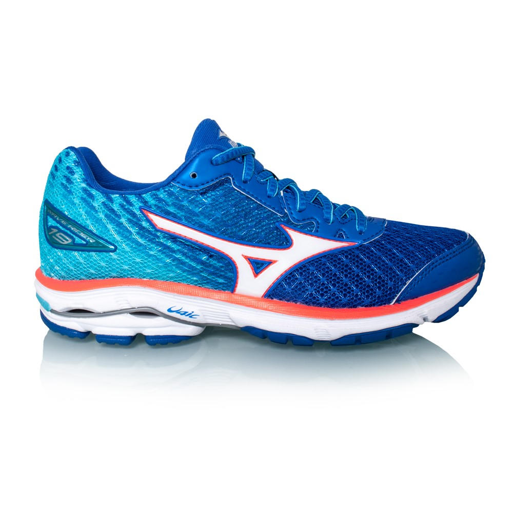 mizuno wave rider 19 womens running shoes blue white coral online sportitude. Black Bedroom Furniture Sets. Home Design Ideas