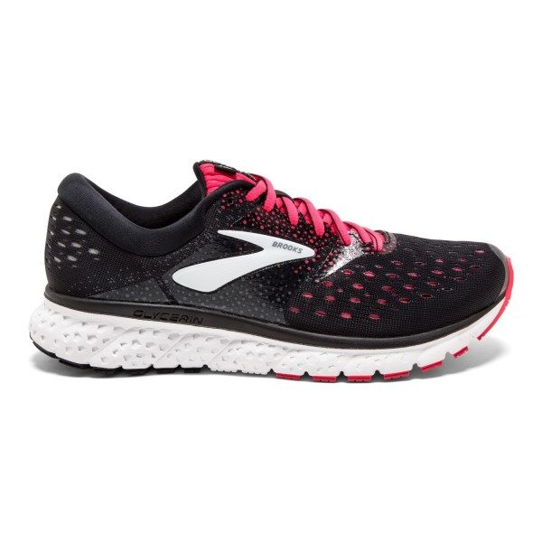 Brooks Glycerin 16 - Womens Running Shoes - Black/Pink/Grey