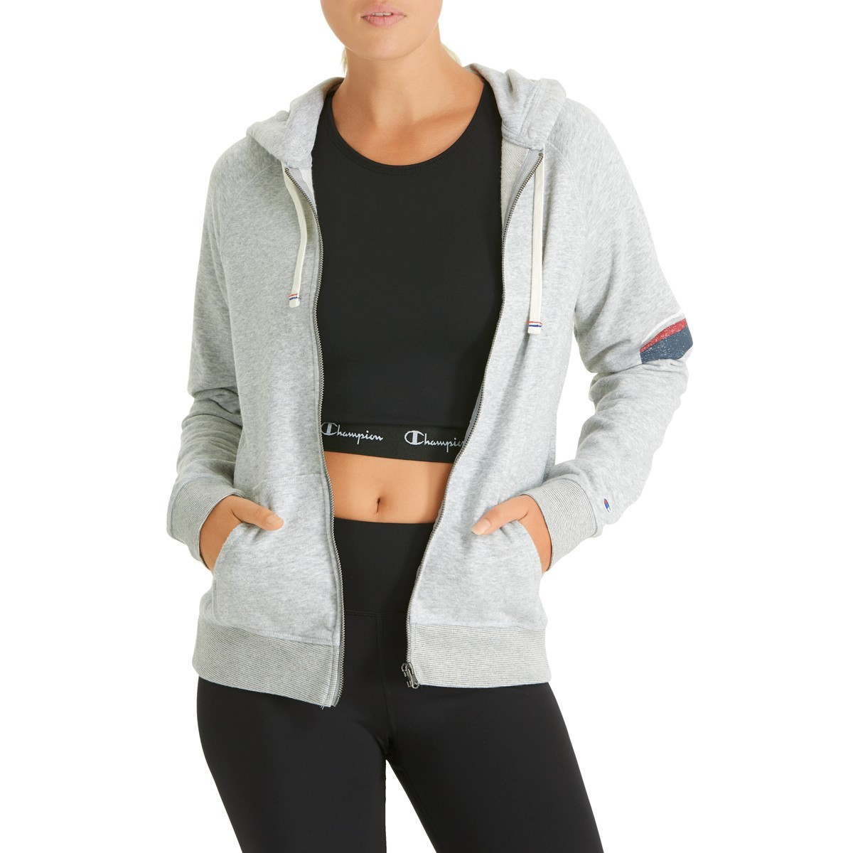 ee45166622f Champion Heritage French Terry Full Zip Womens Hoodie - Oxford Grey  Heather/Silver Print