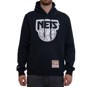 Mitchell & Ness New Jersey Nets Wordmark Emblem NBA Mens Basketball Hoodie