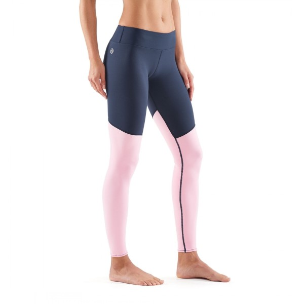 Skins DNAmic Soft Womens Compression Long Tights - Cameo Pink/Navy Blue