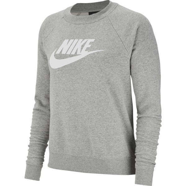 Nike Sportswear Essential Crew Womens Long Sleeve T-Shirt - Dark Grey Heather/White