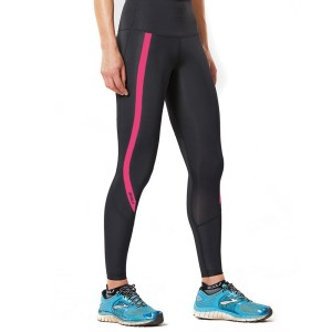 2XU Hi-Rise Womens Compression Tights - Black/Peacock Pink