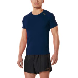 2XU GHST Mens Running Short Sleeve Top - Navy/Gold