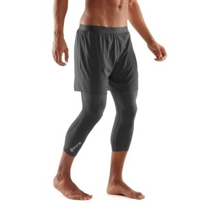 Skins DNAmic Superpose Mens Compression 3/4 Tights With Shorts + Free Gym Bag