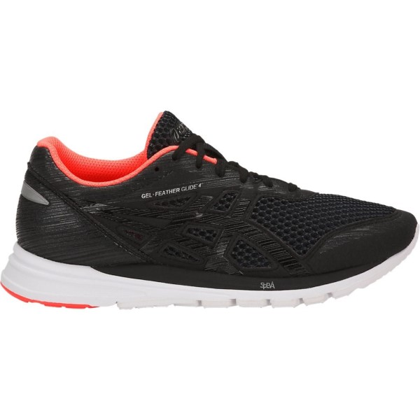 Asics Gel Feather Glide 4 - Womens Running Shoes - Black/Flash Coral/White