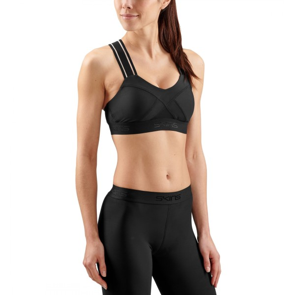 Skins DNAmic Speed Womens Sports Bra - Black/Black