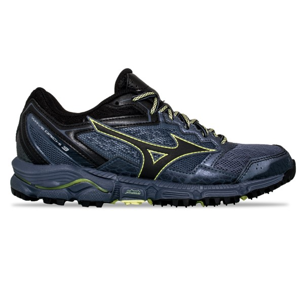 Mizuno Wave Daichi 3 - Womens Trail Running Shoes - Folkstone Grey/Black/Sunny Lime