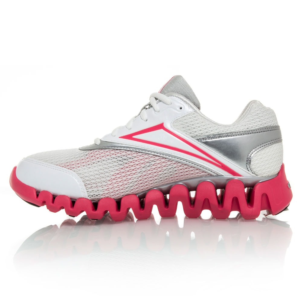 reebok zigfuel womens running shoes white pink silver