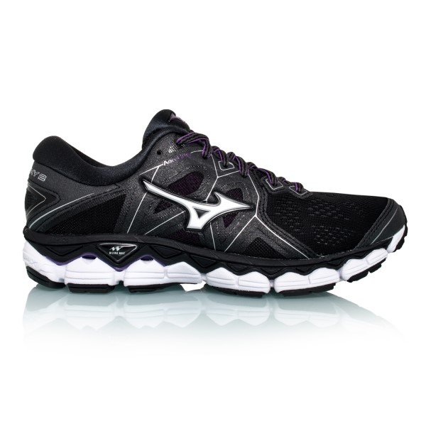 Mizuno Wave Sky 2 (B/D) - Womens Running Shoes - Black/Silver/Bright Violet