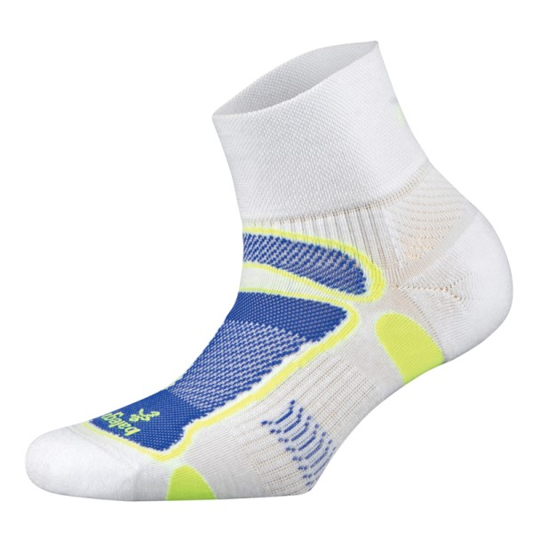 Balega Ultra Light Quarter Unisex Running Socks - White/Neon Yellow/Royal Blue