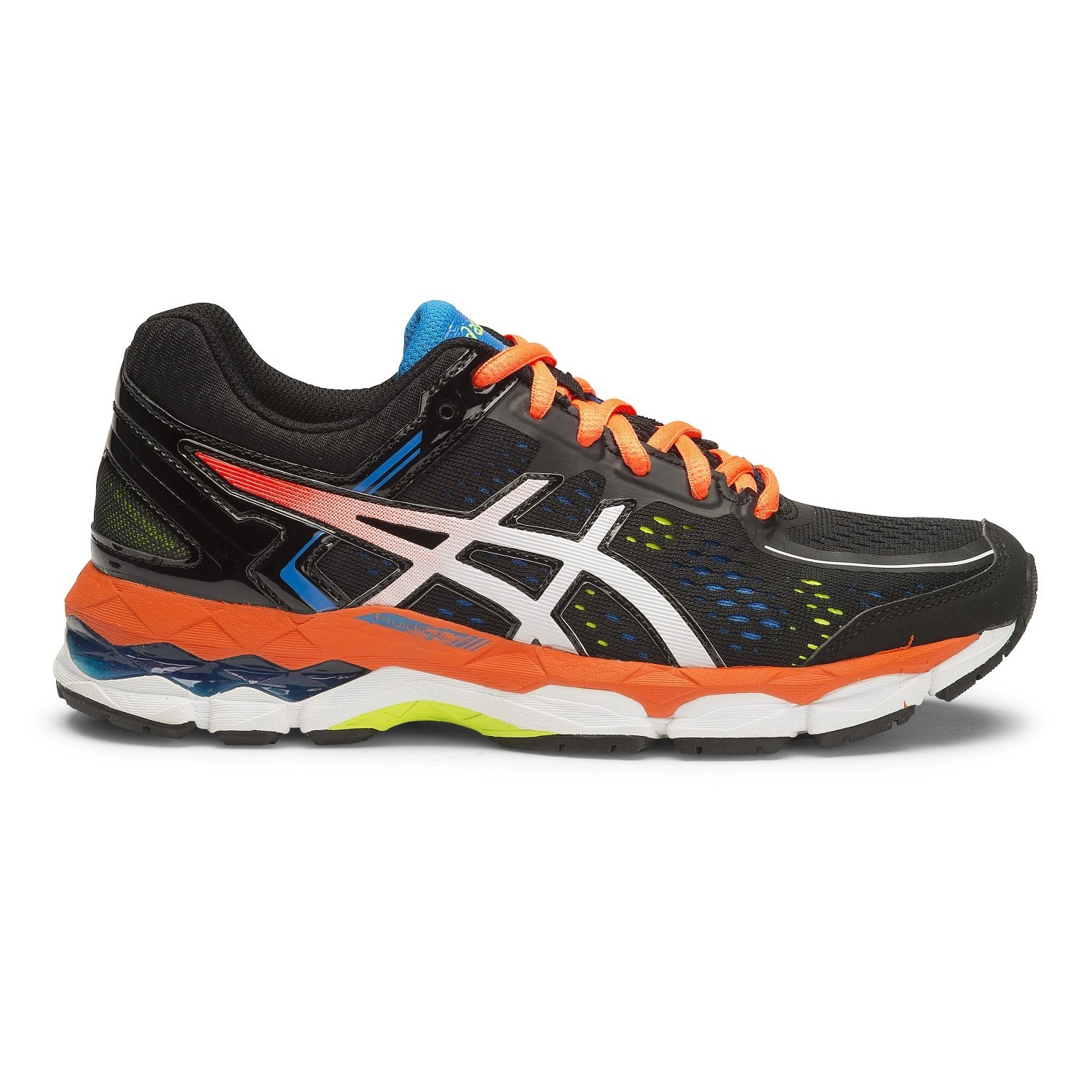 asics gel kayano 22 gs kids boys running shoes black hot orange electric blue online. Black Bedroom Furniture Sets. Home Design Ideas