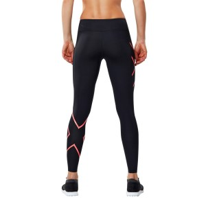 2XU Mid-Rise Womens Compression Tights - Black/Fiery Coral