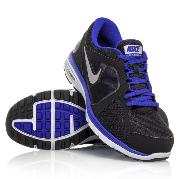8fc9dc2ae2a Nike Dual Fusion Run MSL - Mens Running Shoes - Black Blue White ...