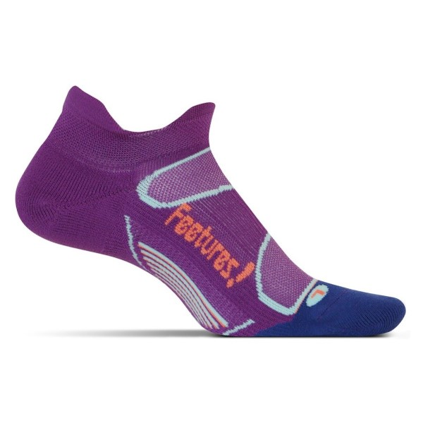 Feetures Elite Light Cushion No Show Tab - Womens Running Socks - Ultraviolet/Coral