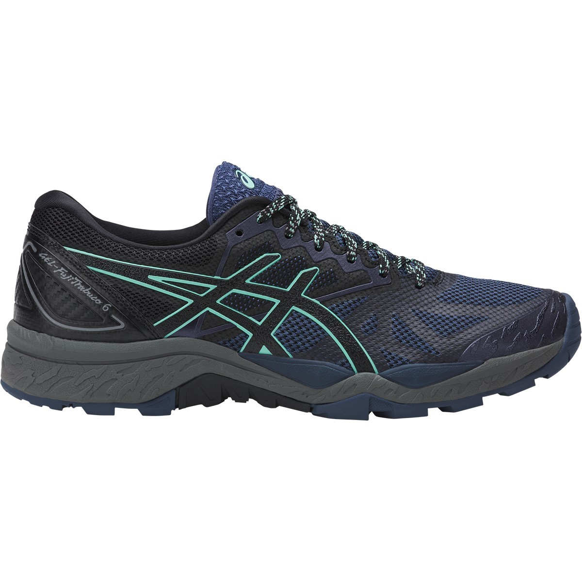 asics gel fuji trabuco 6 womens trail running shoes insignia blue black ice green online. Black Bedroom Furniture Sets. Home Design Ideas