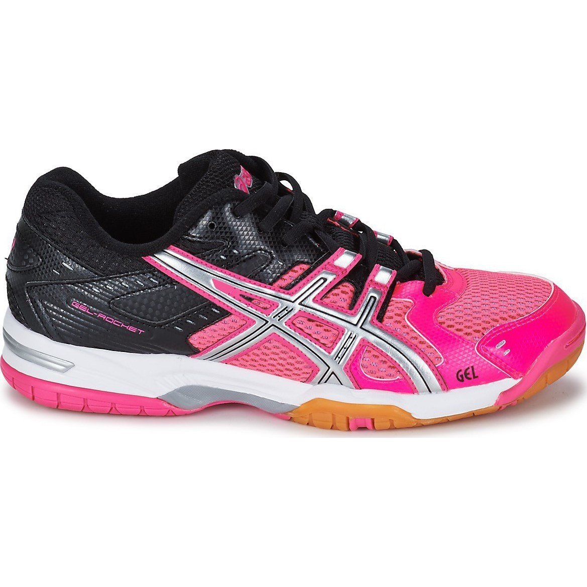 Asics Gel Rocket  Womens Silver Black Court Shoes