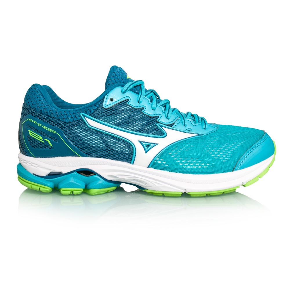 Mizuno Wave Rider 21 - Womens Running Shoes - Peacock Blue White ... 7d8f63d64fd8