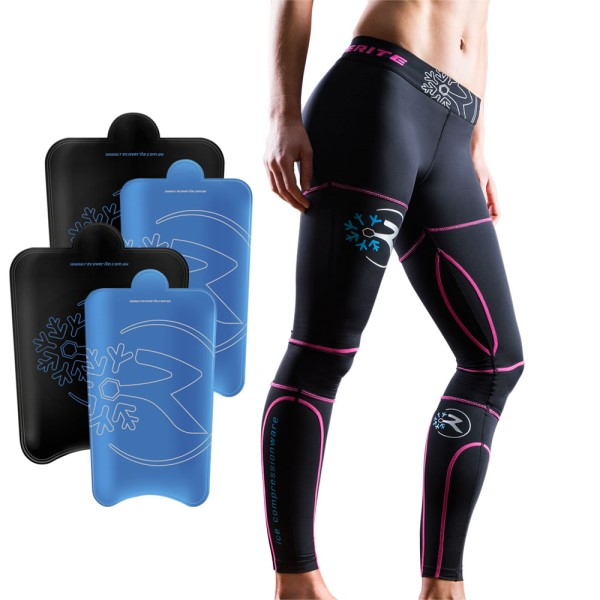 Recoverite Womens Ice Recovery Compression Tights Kit - Black/Pink