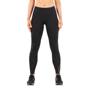 2XU Run Mid Rise Womens Compression Tights - Black/Black Reflective