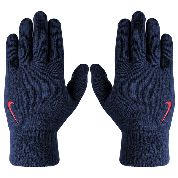 Nike Knitted Tech And Grip Mens Running Gloves - Midnight Navy/Challenge Red