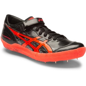 Asics High Jump Pro - Unisex High Jump Spikes - Black/Flash Coral/Silver