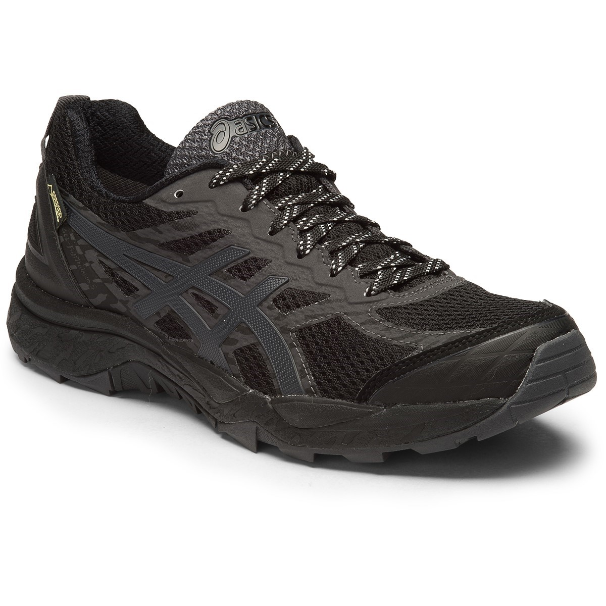 asics gel fuji trabuco 5 gtx womens trail running shoes black dark steel silver online. Black Bedroom Furniture Sets. Home Design Ideas